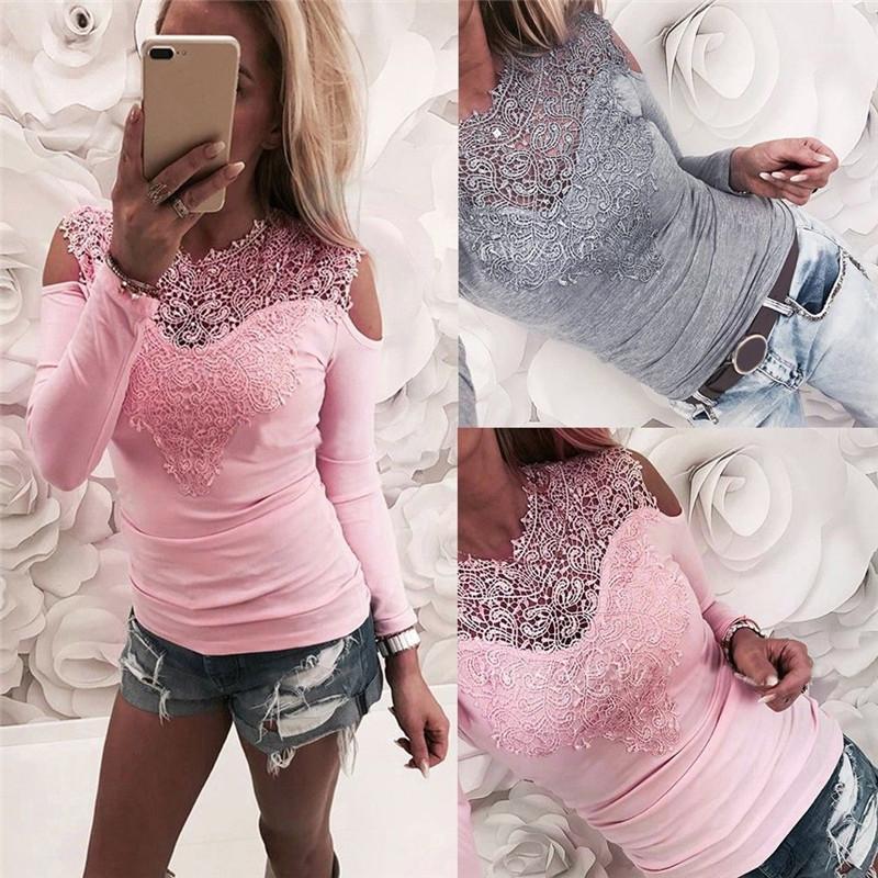 Sólido de color para mujer Tops Ropa de Mujer Primavera floral de encaje de impresión de manga larga de las señoras atractivas de las camisetas con paneles