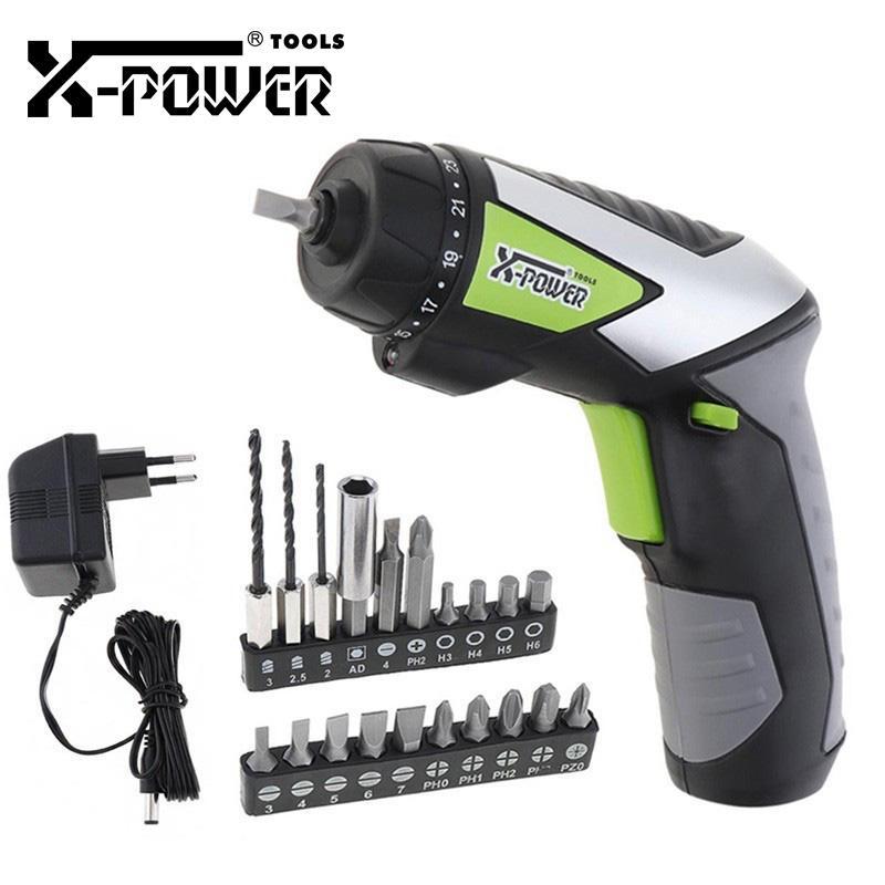 X-poder 4.8V pequeno Cordless Chave de fenda Mini broca elétrica Set Screw Gun ferramenta de poder portátil de luz LED com 20pcs Acessórios