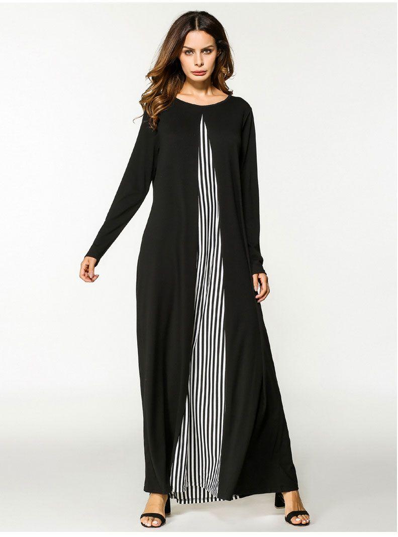 a5b605a13c Aliexpress Amazon Plus Size Women'S Dress Muslim Stripe Knit Long Sleeved  Robe Plus Size Party Dress Buy Dress From Morebeauty, &Price;| DHgate.Com