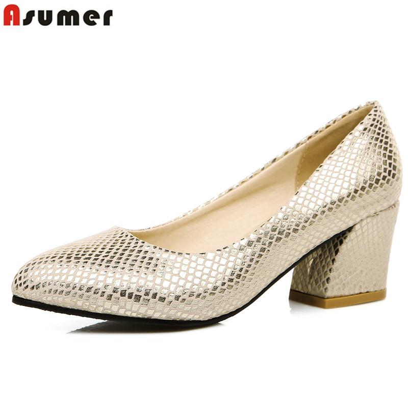 ASUMER Plus size 34-45 hot sale 2018 new high quality simple women pumps square heels party wedding shoes woman gold and silver