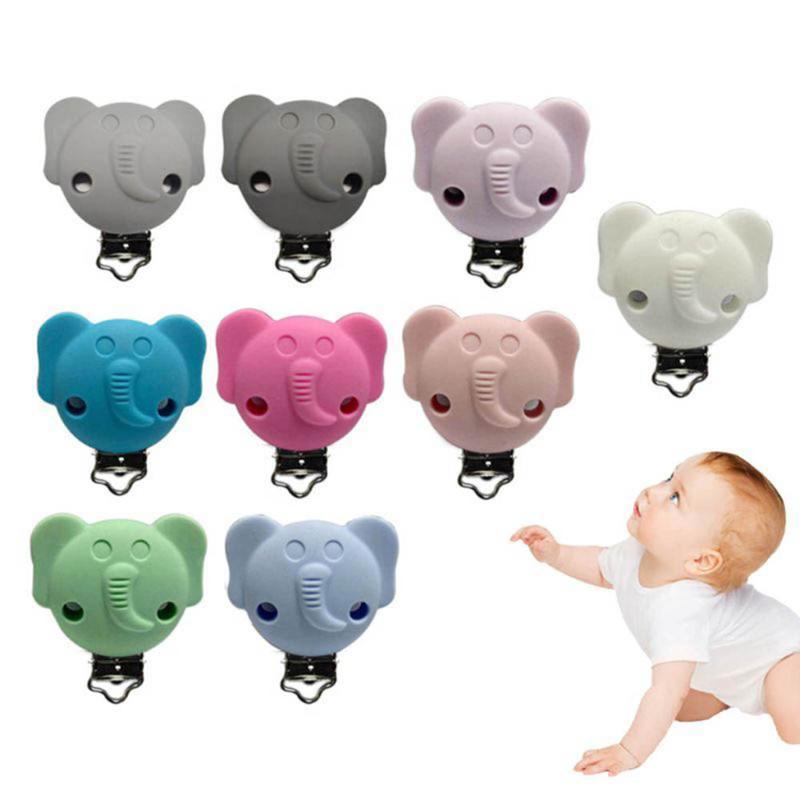 1 Adet Sevimli Karikatür Fil emziği Klipler Silikon Emzik Tutucu Bebek emziği Memeler Tutucu Çoklu Renk Kelepçe Oyuncak