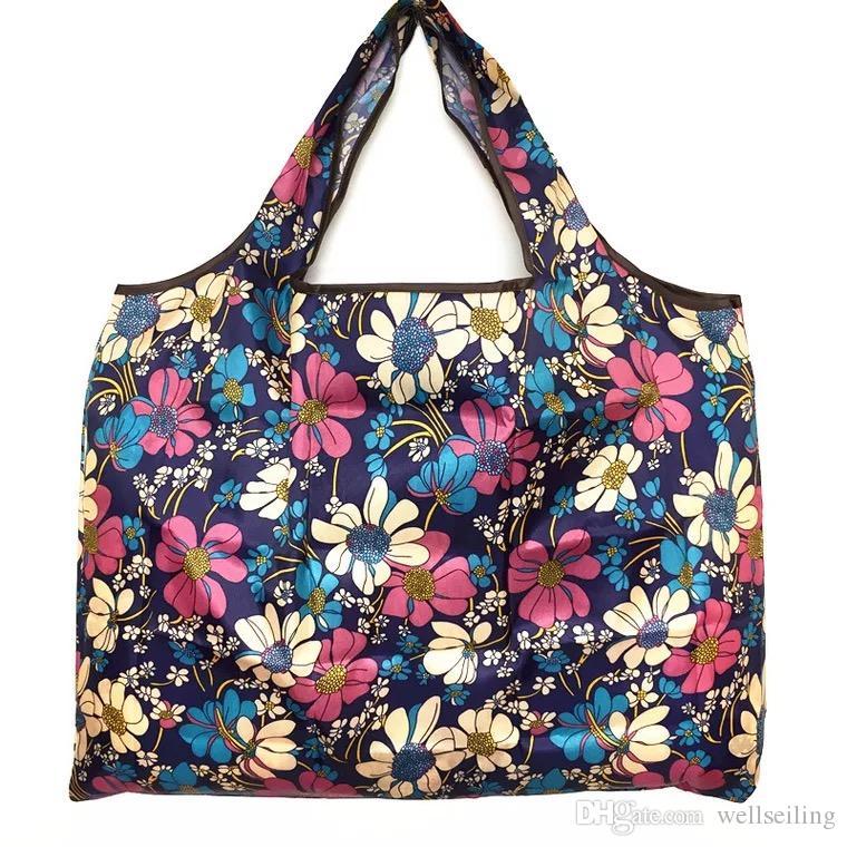 Большой складной Handy хозяйственная сумка многоразового сумка для хранения печати цветов Tote мешок корзины Экологию Организация сумки