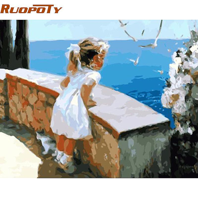 RUOPOTY Frame Little Girl DIY Painting By Numbers Acrylic Paint On Canvas Figure Painting Unique Gift For Living Room Decor