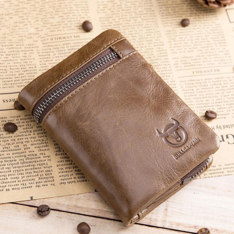 Короткие Tri-Fold пряжкой молния кошелек мужские Корова Кожаный бумажник Портмоне Деньги сумка Визитницы