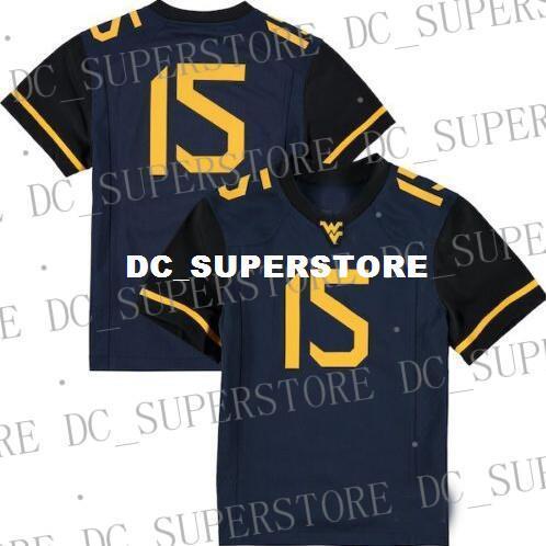 Baratos atacado # 15 West Virginia Mountaineers Jersey Marinha Novo !!! Costura personalizada qualquer nome de número de camisa de futebol