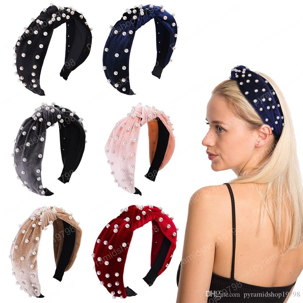 Corée Boutique Hairband Nail Fashion Perle Bandeau velours Femmes Filles Lady Hair Bands Head Hoop Accessoires Bandeaux Coiffe