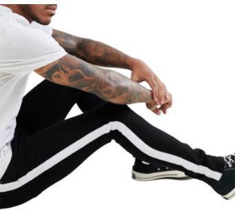 Jeans Moda delgado Street Fit color de los pantalones lavados de los nuevos Luz pura Streetwear informal Ropas del diseñador del Mens rayado