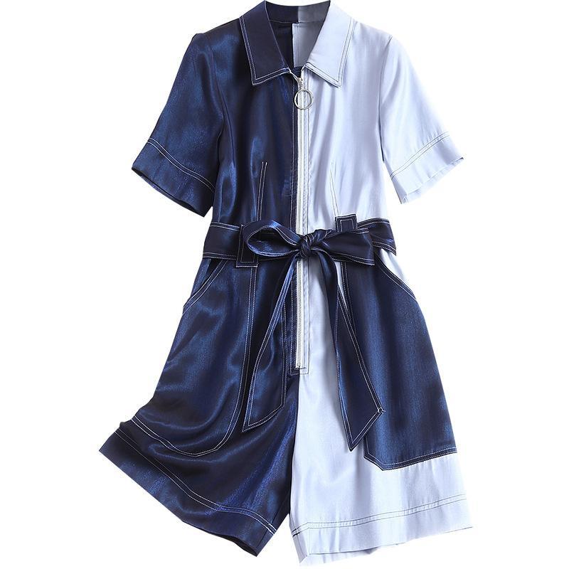 المرأة حللا السروال القصير جودة عالية بذلة السراويل 2021 الربيع الصيف playsuits النساء بدوره أسفل الياقة الدانتيل يصل المرقعة قصيرة الأكمام