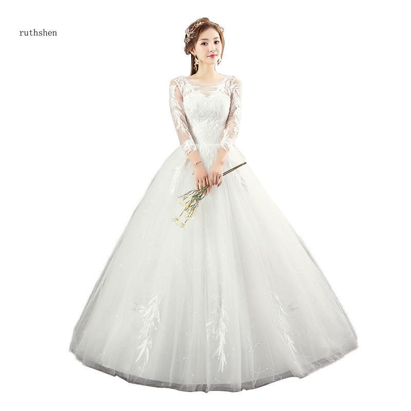 Atacado vestido de Baile Vintage Três Quartos Até O Chão Apliques Sobre O Brilho Tule Vestido De Noiva Curto Colher De Vestidos de Casamento
