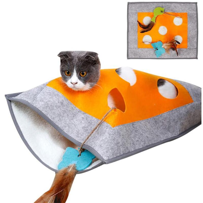 Cat Tunnel Sleeping Bag Creative Breathable Warm Cat Nest Pet Sleeping Bed Puzzle Toy For Kittens With Sound Parper Toy Gift