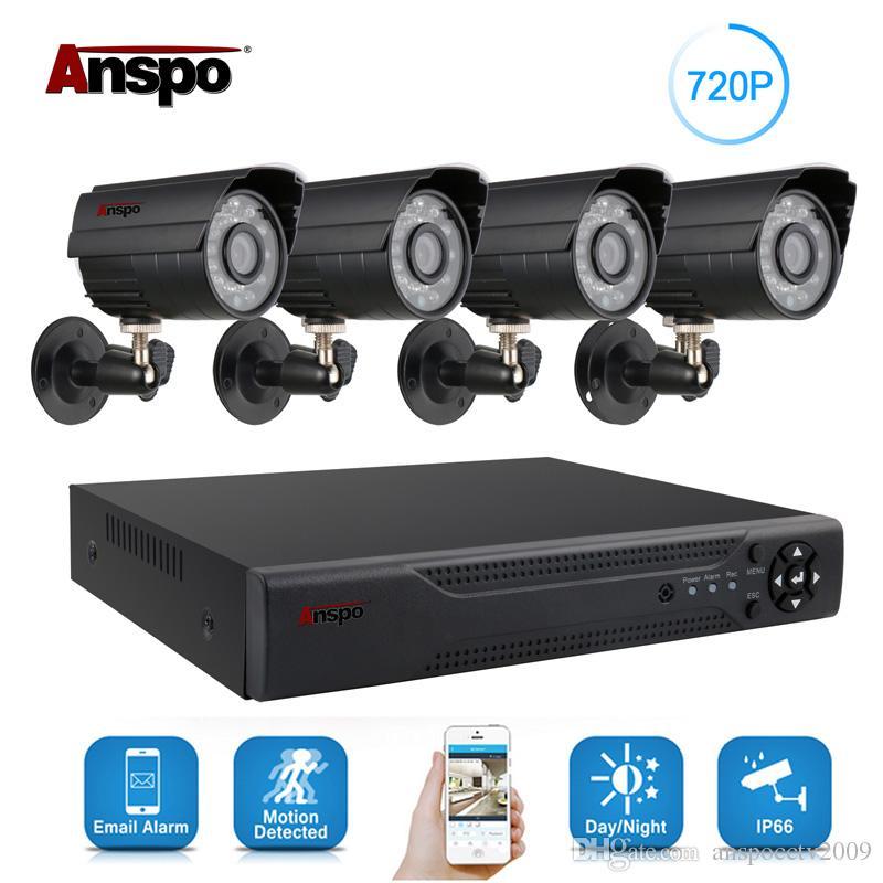 Anspo 4CH AHD Ev Güvenlik Kamera Sistemi Seti Su geçirmez Açık Gece Görüş IR-Cut DVR CCTV Ev Gözetim 720P Siyah / Beyaz Kamera