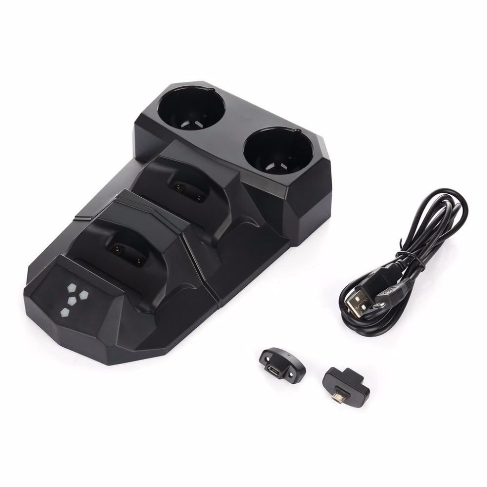 4-in-1 USB Charging Dock With LED Light Dual Charger Dock Station For Playstation For PS3 Move For PS4 VR Controllers Holder