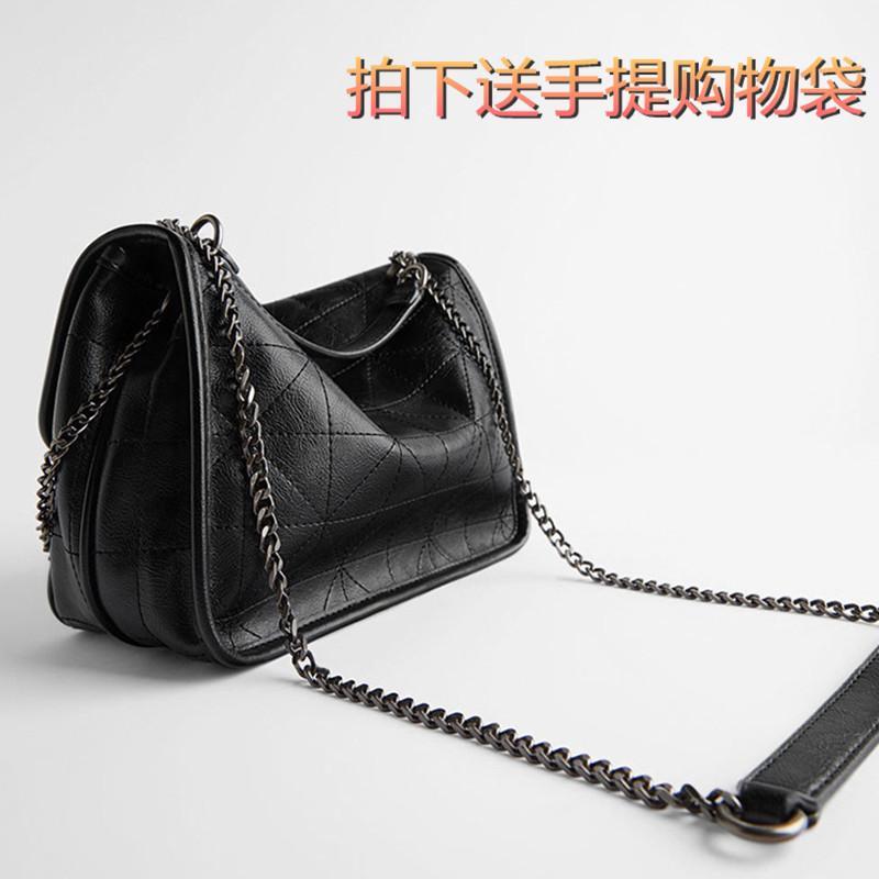 El nuevo bolso de las mujeres negro de cuero suave bolsa de mensajero gran cadena sencilla capacidad de hombro