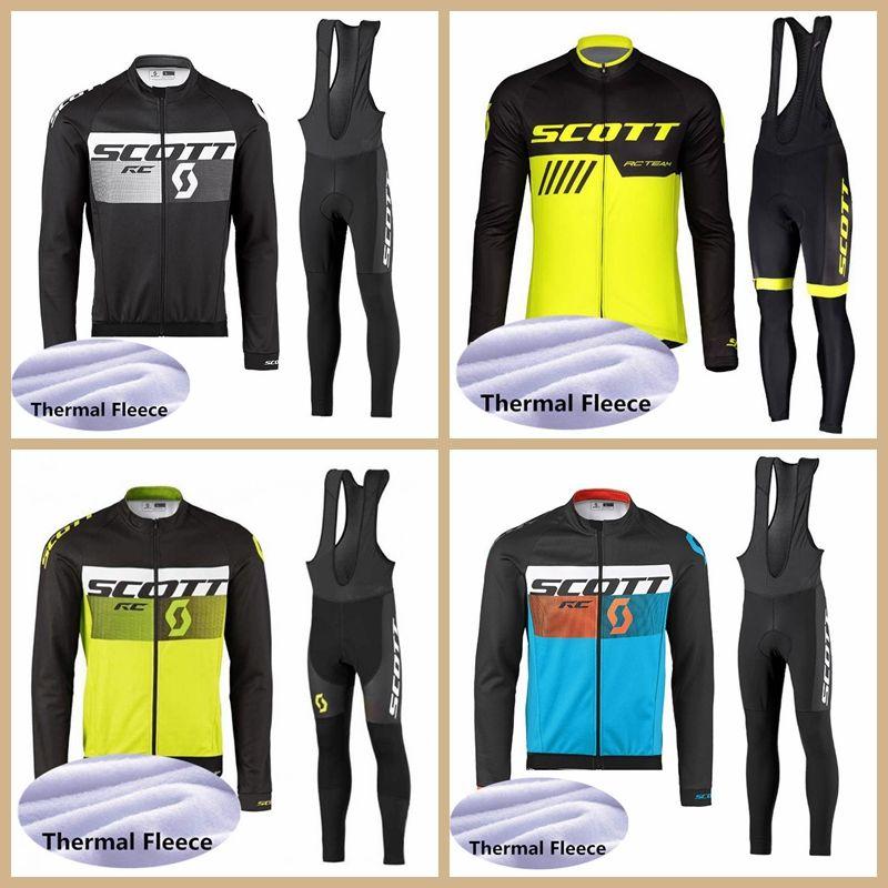 2019 SCOTT Team Winter Thermal Fleece Cycling Jersey set MTB Long Sleeve shirt bib pants suir Ropa Ciclismo Racing Bike Clothes Y041105