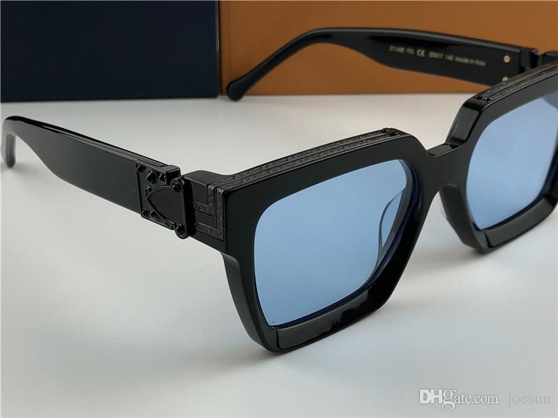 تصميم الرجال النظارات الشمسية مليونير 96006 متر مربع إطار أسود عدسة زرقاء اللون الجديد أعلى جودة الصيف في الهواء الطلق الطليعية UV400 عدسة