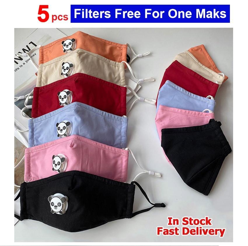 5 PCS filtri liberi For One Mask Bocca Cover Designer colorato dei bambini del capretto del bambino del cotone della mascherina della mascherina della valvola lavabili riutilizzabili Viso