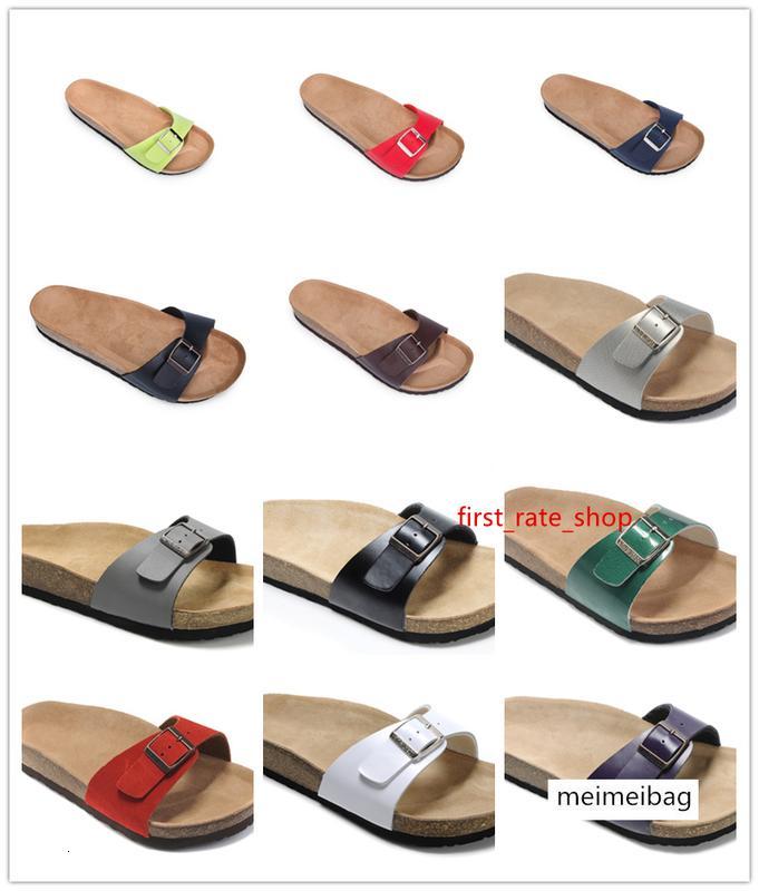 Высокое качество Марка Брик Мадрид обувь из натуральной кожи для мужчин женщин Оптовая квартир Корк сандалии случайные пляжные тапочки с пряжкой обувь