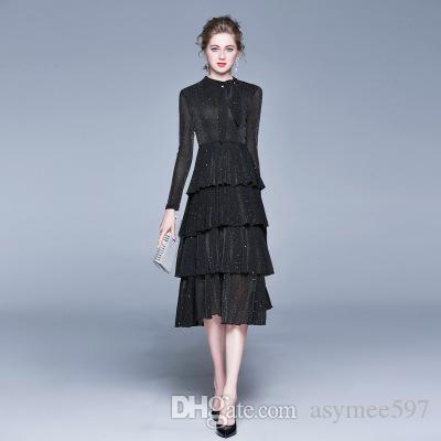Fashion Dress de 2020 Primavera New mulheres elegantes do bolo, uma cor preta com Lady Glossy e da menina Ruway saia, vestidos longos da menina da beleza