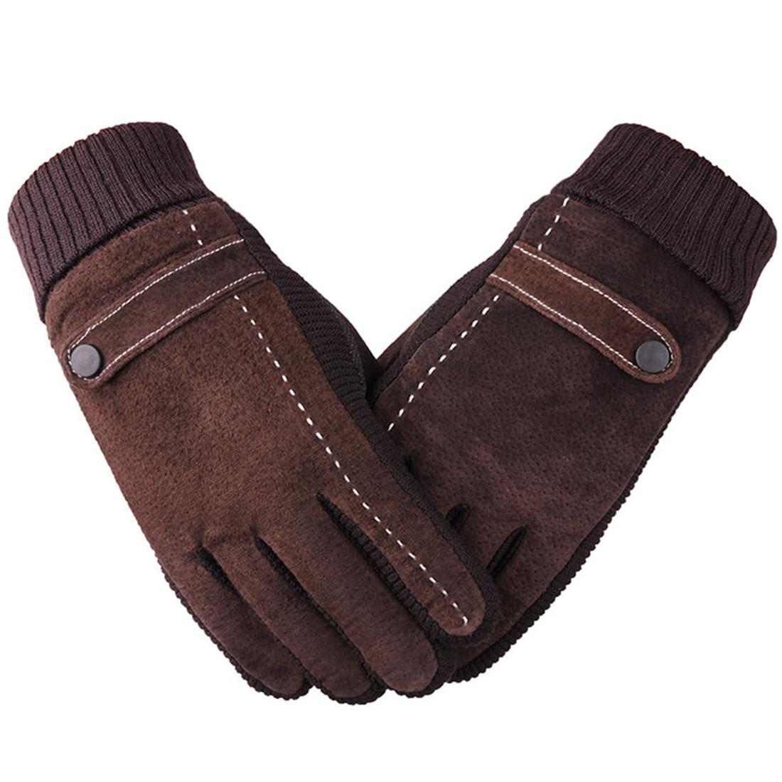 Winter Warm Men's Suede Leather Glove Thicken Plus Velvet Riding Windproof Driver Glove Outdoor Gloves Touch Screen Gloves