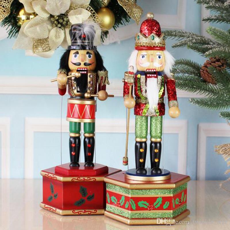 36cm Wooden Nutcracker Handcraft Christmas House Office Home Decor Display D