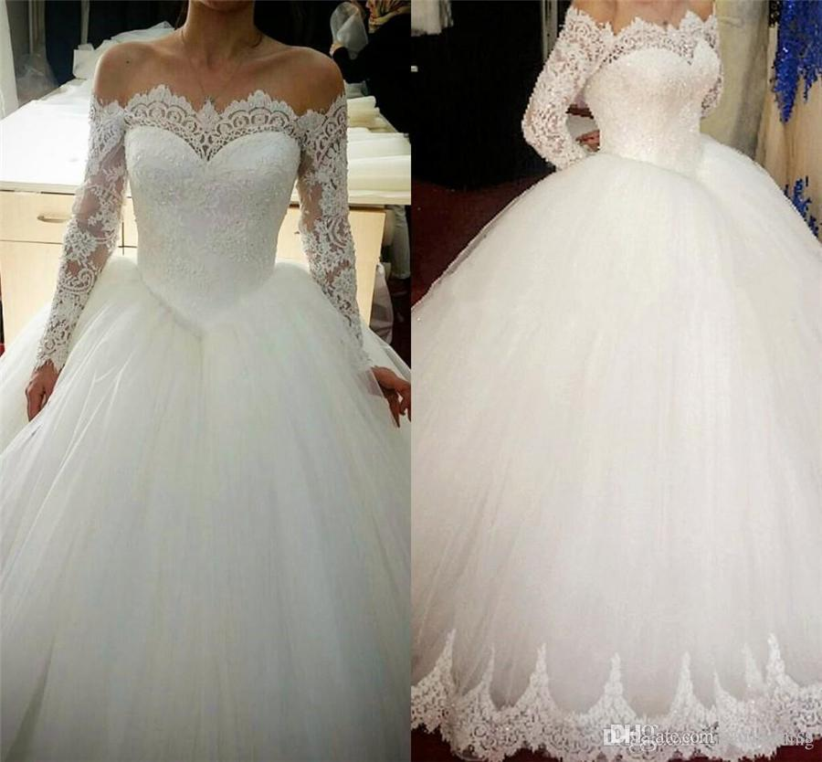 De l'épaule bal robe de mariage Robes de mariée élégante Belle manches longues en dentelle Bateau Robes de mariée Applique