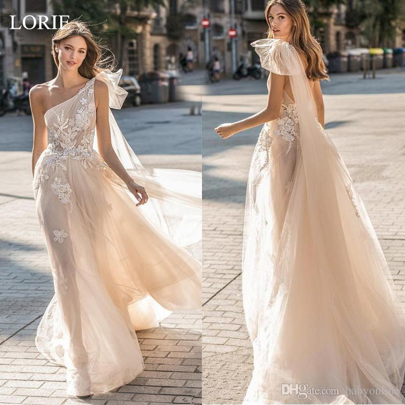 Delicate Champagne Tulle Lace Wedding Dresses Summer Bohemian One Shoulder Open Back Appliqued With Wrap Sheer Tulle Bridal Gowns Cheap