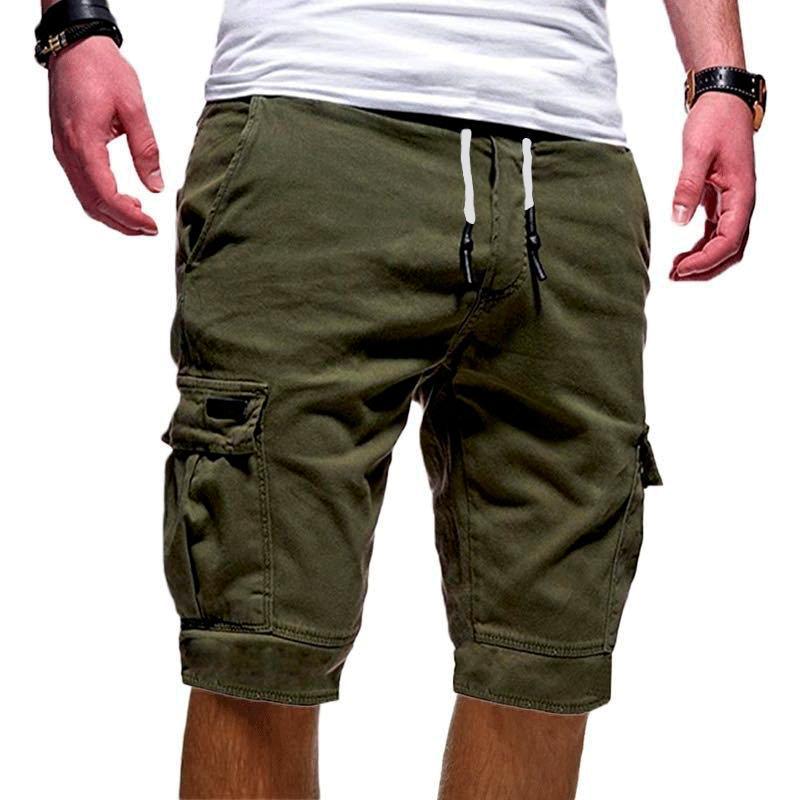 dos homens joelho Sólidos Esporte Cor carga Shorts Men Preto Verde Casual Cotton soltas Shorts Masculino Fina Curto Calças XM01