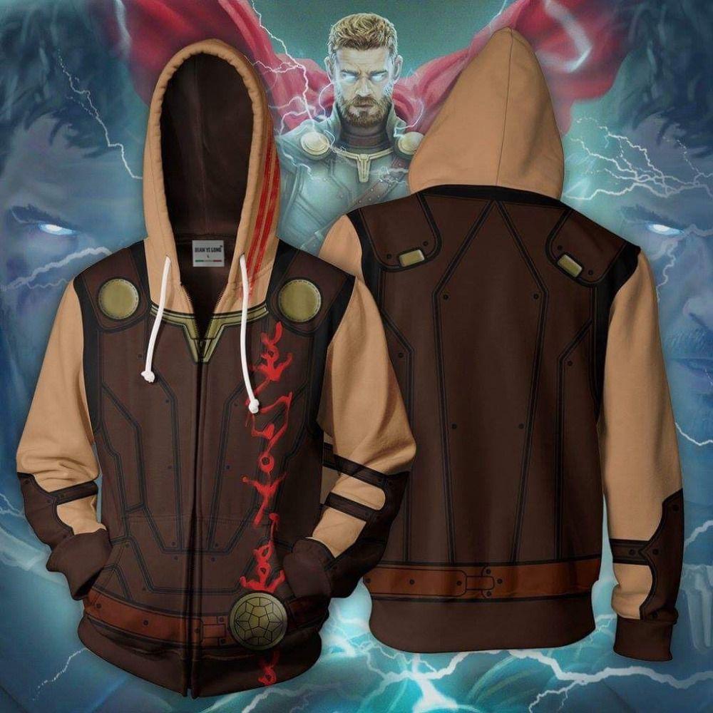 Moda-BIANYILONG 2018 yeni hoodies ceket kostüm Legion Thor-Marvel 3D baskılı fermuar tepelerini giyim hoodies