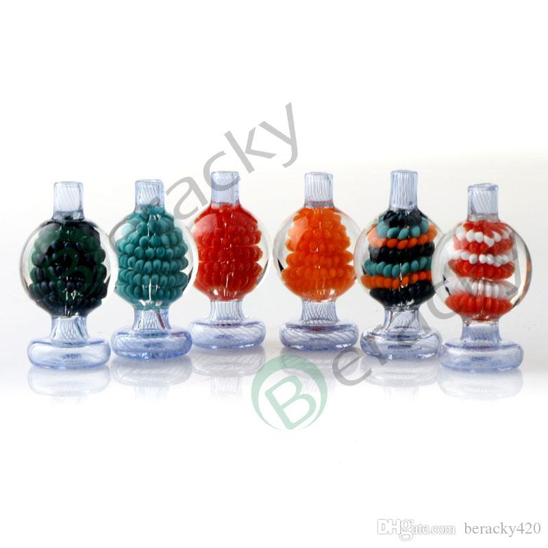 New Built-in Flower Glass Bubble Carb Cap 26mmOD Heady Stripe Carb Caps For Beveled Edge Quartz Banger Nails Glass Water Bongs Dab Rigs
