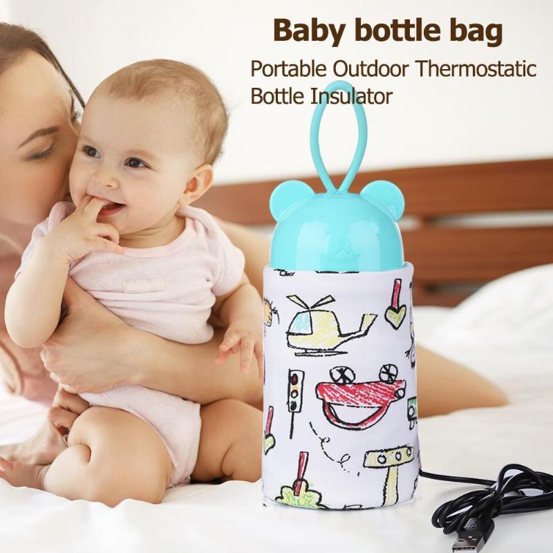 Il bambino d'alimentazione Milk Bottle Warmer 28 * 13cm Spandex Isolamento Borsa Borsa termica Bottle Holder Porta USB di ricarica scalda biberon