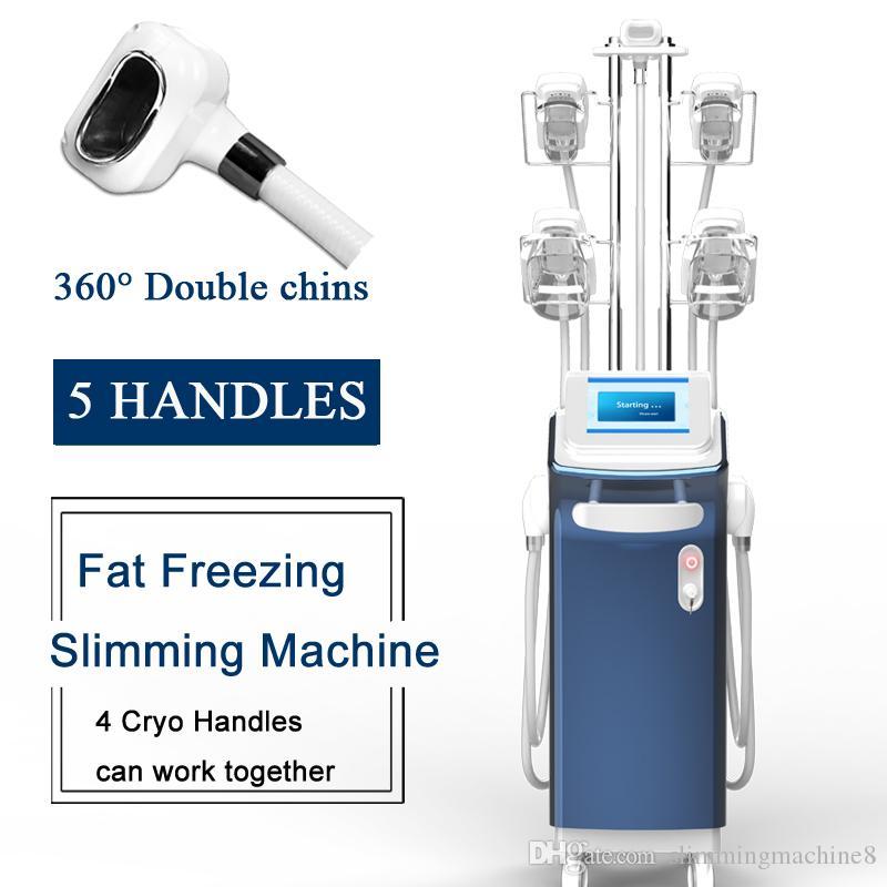 blocco del sistema grasso Cryolipolysis macchina riduzione del grasso a 360 ° doppio mento trattamento 4 grasso congelamento maniglie lavorano insieme