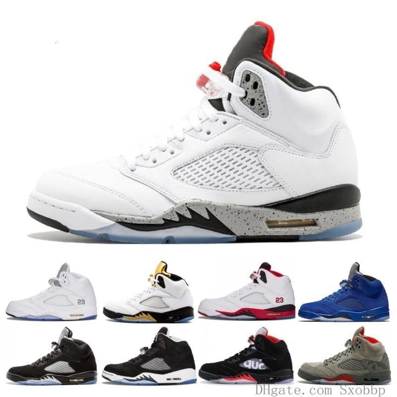 En Yeni Erkek 5 5s Basketbol Ayakkabı Uluslararası Uçuş Mavi Süet Olimpiyat Og Metalik Siyah Beyaz Ateş Kırmızı Spor Sneaker Boyutu 41-47 Çimento