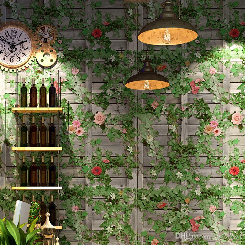 3D green leaf brick background wallpaper decoration book shop entertainment venue restaurant PVC fresh retro ivy mural wallpaper