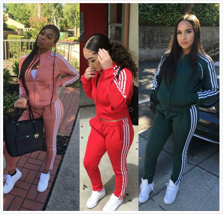 Tracksuit Women Two Piece Set Tops&Pant Clothing Breathable Ladies Stripted 2pcs Sports Suits Female Vestidos Conjunto Feminino T191209