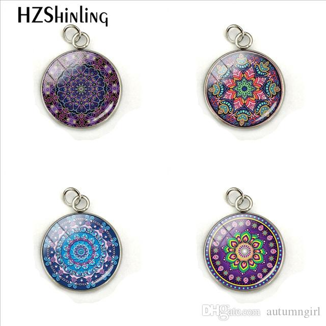 2019 Purple Mandala Flowers Pictures Hand Craft Jewelry Stainless Steel Plated Charms Pendant Fashion Accessory