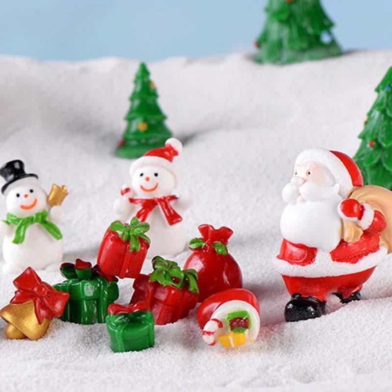 Санта-Клаус Миниатюрный Xmas Tree снеговика Подарочная коробка Декор Украшение Сани Micro пейзаж Снега Новогодний подарок Декор для дома