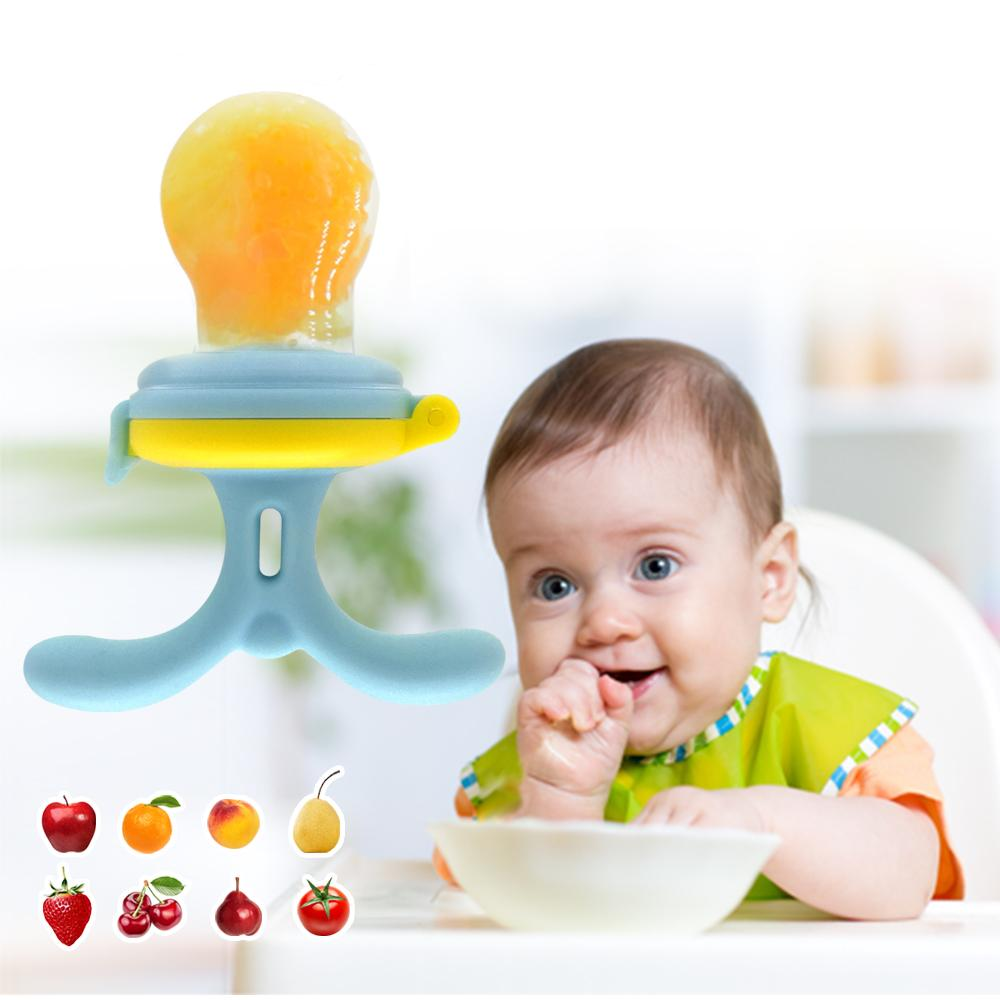 Burabi Baby Fruit Pacifier Feeder Silicone for Teething with 3 Size Nipples