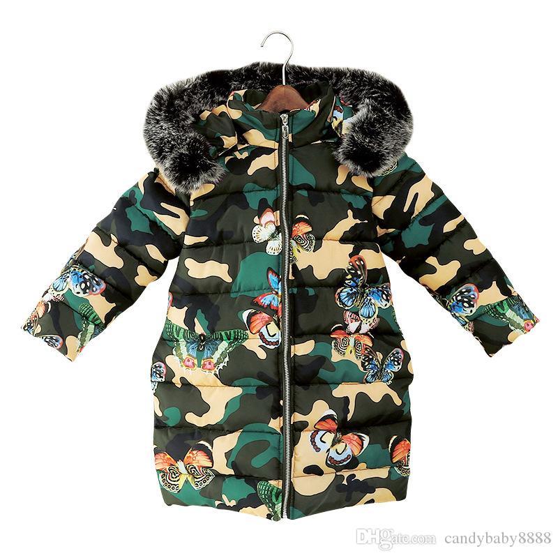Les enfants col de fourrure à capuchon Manteau de duvet grandes filles hiver imprimé papillon camouflage enfants Outwear Mode Veste Vêtements bébé c1653