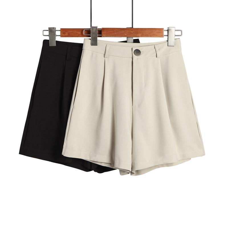 Verano Estilo de Corea Nueva señoras de la oficina de cintura alta Foraml cortocircuitos cremallera frontal de la pierna ancha plisada Pantalones cortos para las mujeres inferior Casual