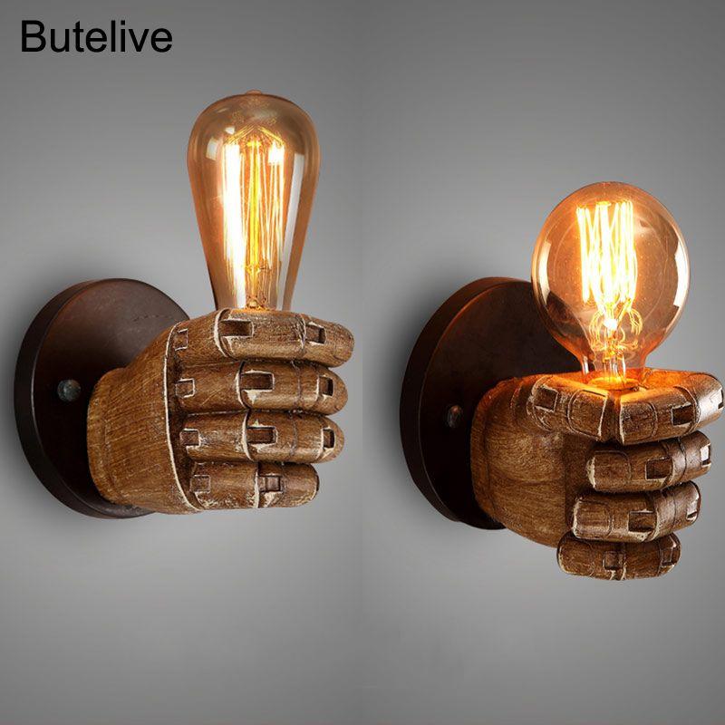 빈티지 벽 램프 산업 벽 빛 주먹 손 개최 골동품 허영 빛 로프트 레트로 거실 침실 계단 주도 E27