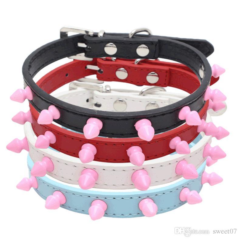 New Hot Dog chaîne avec des pointes à la main Colliers de chien fer pourpre Kaulapanta rose clouté harnais pour chien Chaîne Sweet07