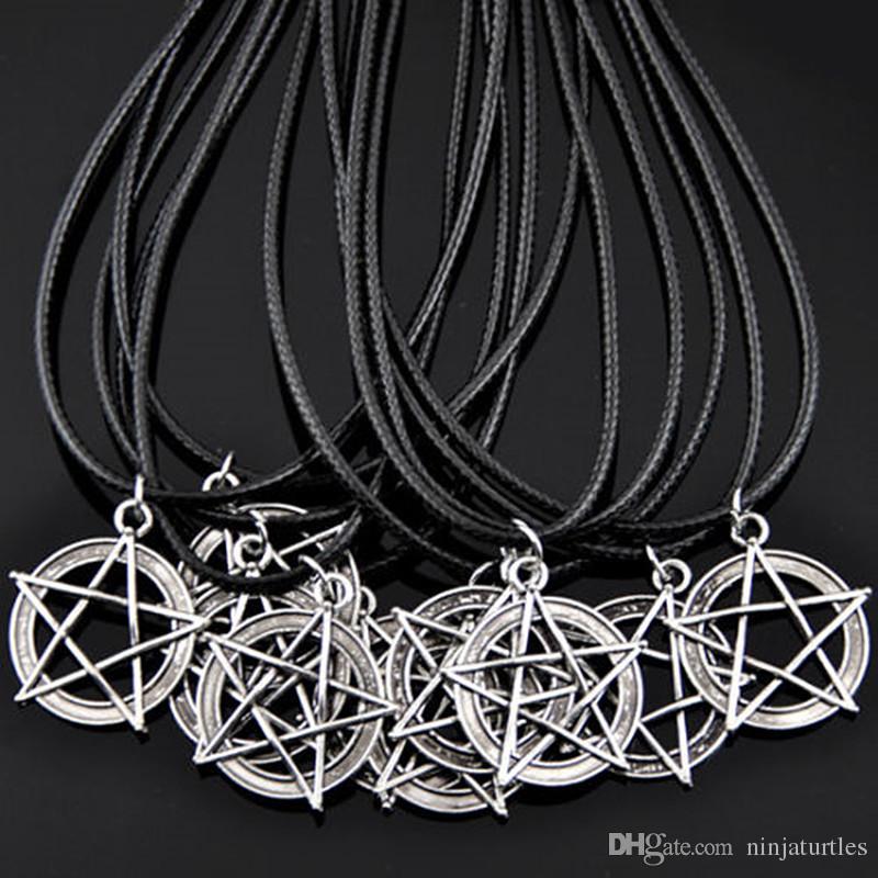 Takı toptan lot 50 adet Serin yıldız Pentagram geometri charms Kolye Kolye HJ10