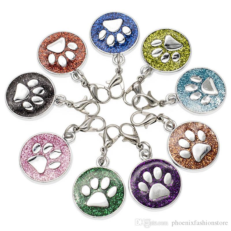 Enamel Footprint Cat Dog/Bear Paw Prints 18mm Dog Paw Charms Rotating Lobster Clasp Key Chain Keyring Bag DIY Jewelry Accessories Making