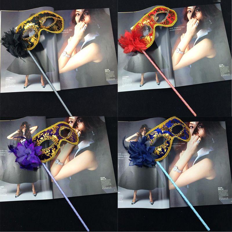판매 파티 무도회 마스크 할로윈 골드 천은 스틱 믹스 주문 페이스 마스크에 꽃 사이드 베네치아 카니발 파티 마스크를 코팅