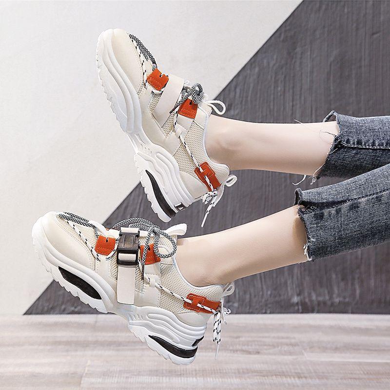 2019 de Harajuku Mulheres Chunky Sneakers Tenis Basket Mulheres Plataforma Casual Sapatos pai ulzzang Shoes alta Top Zapatos Mujer CJ191228