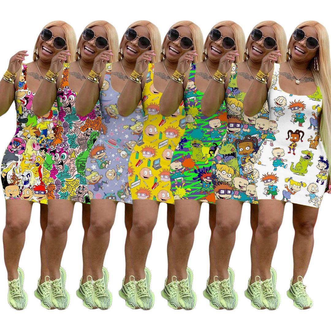 Summer Dress Women Sleeveless Designer Mini Skirt One Piece Dress High Quality Skinny Dress Fashion Luxury Clubwear C153
