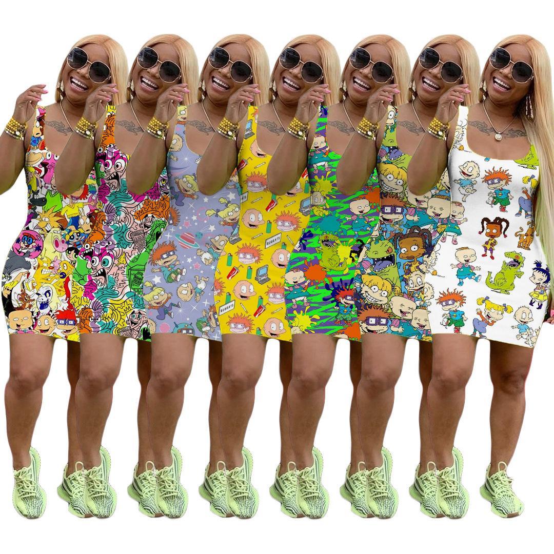 Verão Mulheres vestido sem mangas Designer Mini Saia One Piece Vestido de alta qualidade magro vestido de luxo de moda Clubwear C153