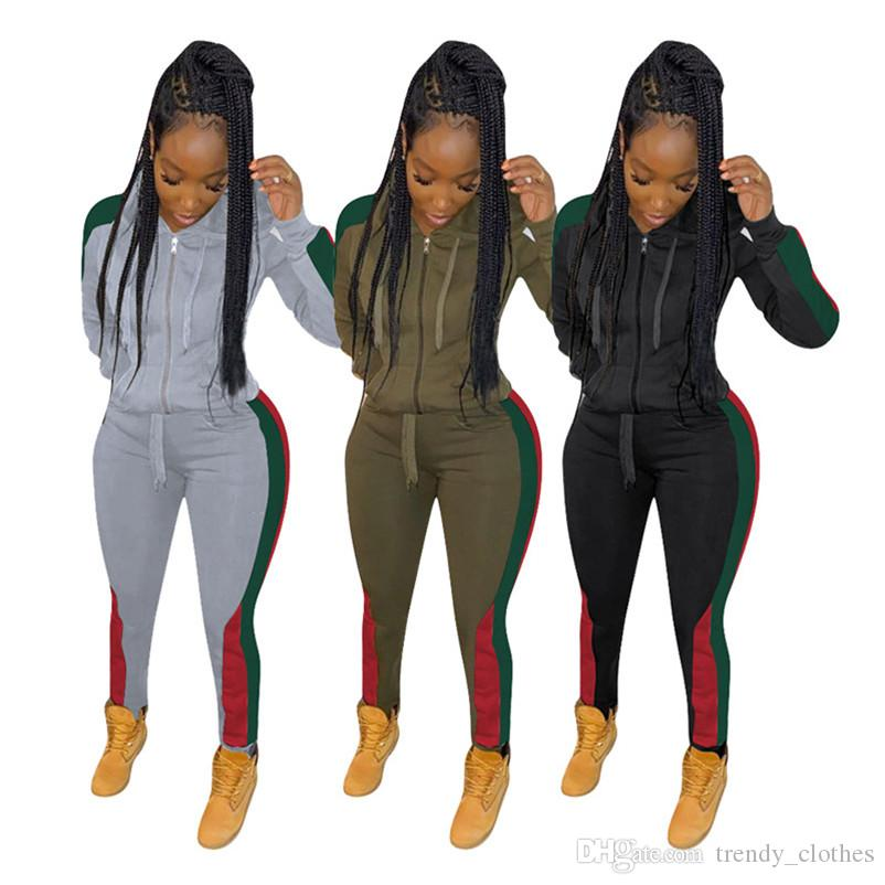 Mujeres trajes de 2 conjuntos de piezas además de pantalones de la chaqueta de la rebeca del tamaño de la prendas de vestir ropa de la caída ocasional del invierno sweatsuit capris pantalones de chándal DHL 2287
