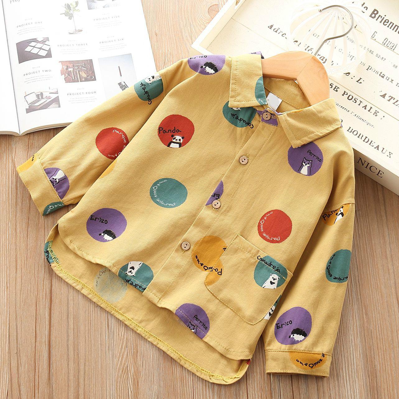 Della camicia delle autunno del bambino di stile occidentale di nuovo stile in stile coreano Childrenswear manica lunga colore Polka Dot ragazze RAGAZZA shirt F
