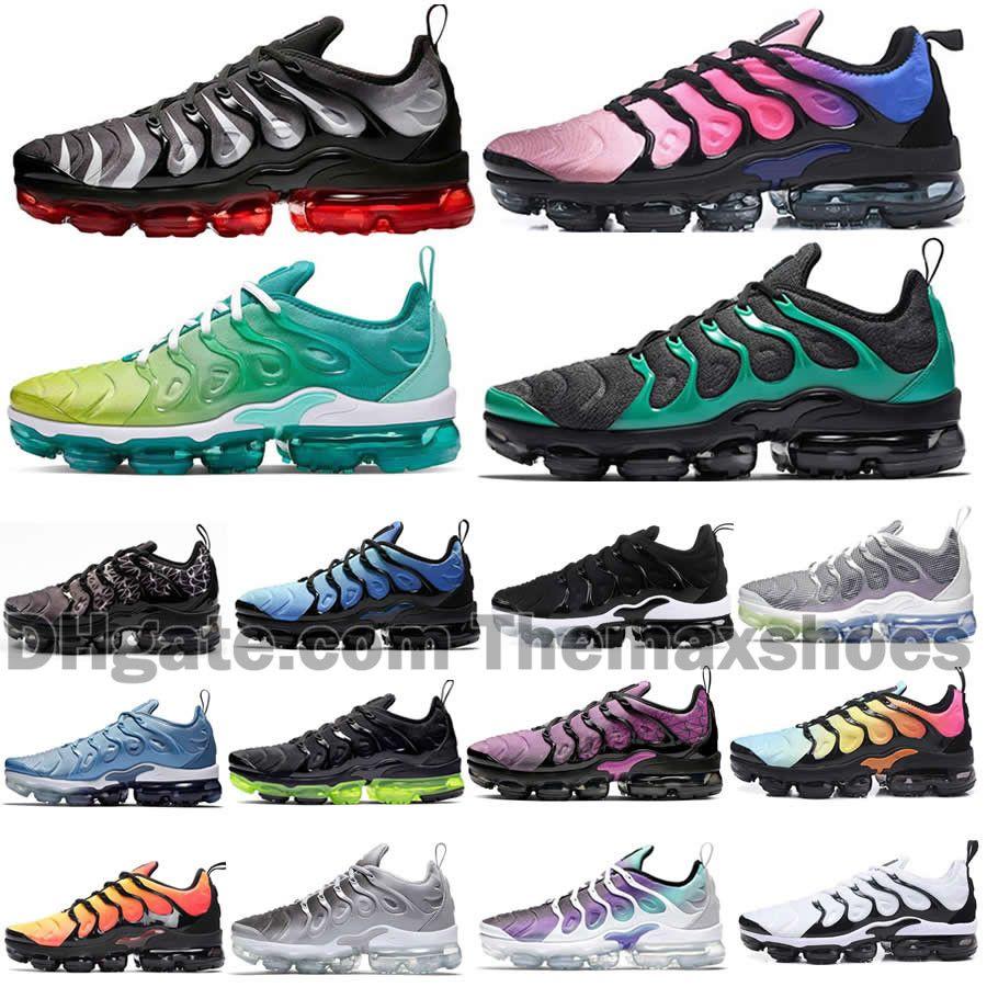 2020 Geometrik Aktif Fuşya Siyah TN Artı Erkek Kadın Koşu Ayakkabıları Izgara Baskı Limon Kireç Bumblebee oyunu Kraliyet Eğitmenleri Spor Sneakers
